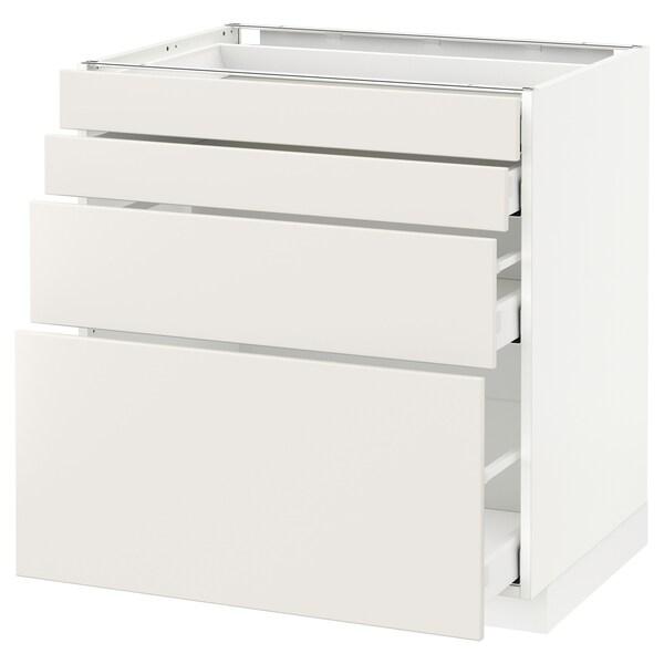 METOD / MAXIMERA Élément bas 4 faces/4 tiroirs, blanc/Veddinge blanc, 80x60 cm