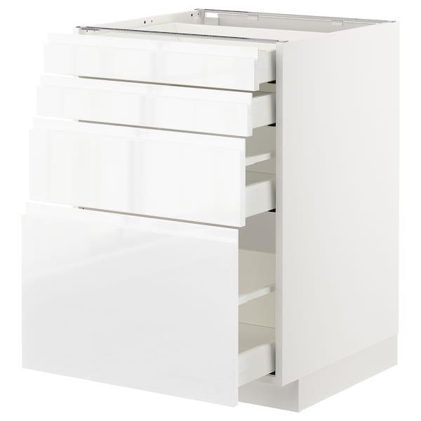 METOD / MAXIMERA Élément bas 4 faces/4 tiroirs, blanc/Voxtorp brillant/blanc, 60x60 cm