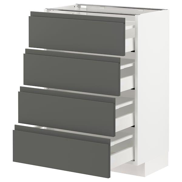 METOD / MAXIMERA Élément bas 4 faces/4 tiroirs, blanc/Voxtorp gris foncé, 60x37 cm
