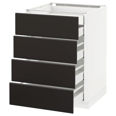 METOD / MAXIMERA Élément bas 4faces/2tir bas+3moy, blanc/Kungsbacka anthracite, 60x60 cm
