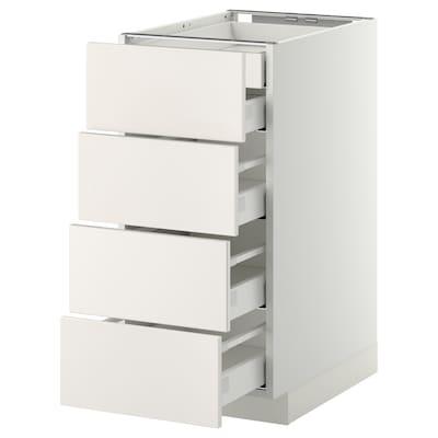 METOD / MAXIMERA Élément bas 4faces/2tir bas+3moy, blanc/Veddinge blanc, 40x60 cm