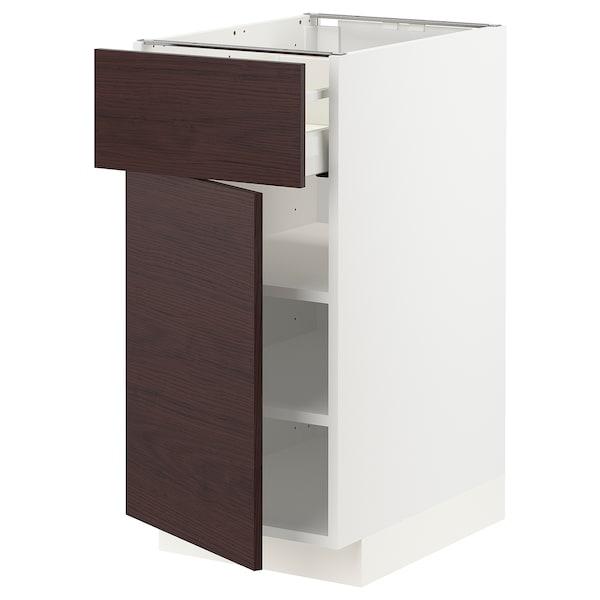 METOD / MAXIMERA Élément bas avec tiroir/porte, blanc Askersund/brun foncé décor frêne, 40x60 cm