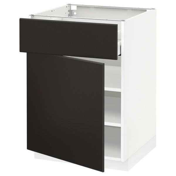 METOD / MAXIMERA Élément bas avec tiroir/porte, blanc/Kungsbacka anthracite, 60x60 cm