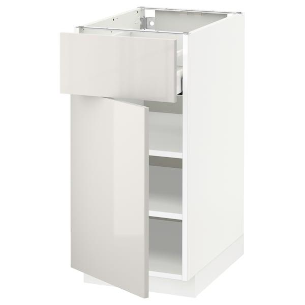 METOD / MAXIMERA Élément bas avec tiroir/porte, blanc/Ringhult gris clair, 40x60 cm