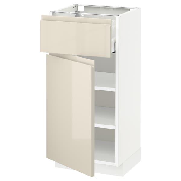 METOD / MAXIMERA Élément bas avec tiroir/porte, blanc/Voxtorp beige clair brillant, 40x37 cm