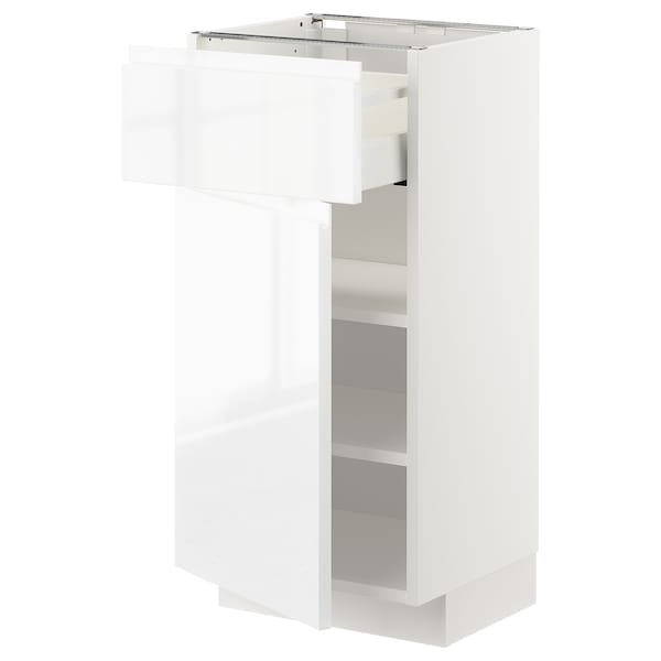 METOD / MAXIMERA Élément bas avec tiroir/porte, blanc/Voxtorp brillant/blanc, 40x37 cm
