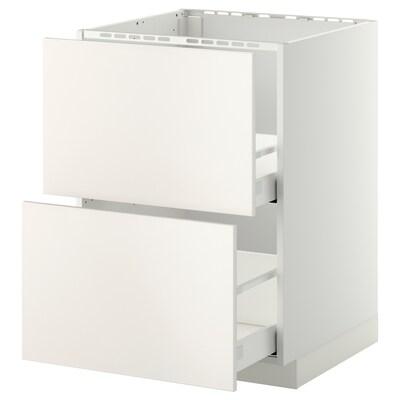 METOD / MAXIMERA Élément bas évier + 2faces/2tiroirs, blanc/Veddinge blanc, 60x60 cm
