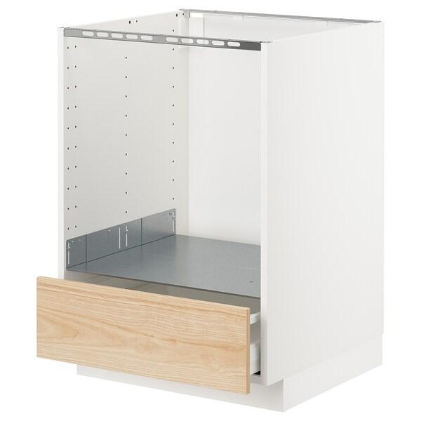 METOD / MAXIMERA Élément bas pour four avec tiroir, blanc/Askersund effet frêne clair, 60x60 cm