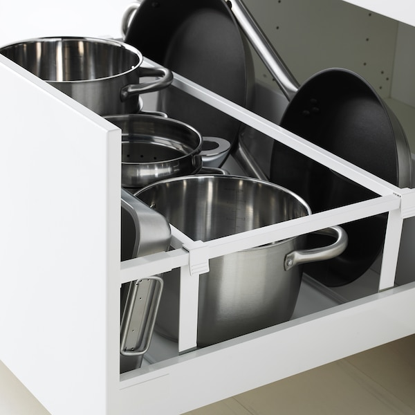 METOD / MAXIMERA Élément bas table cuisson/2fcs/2tir, blanc/Bodbyn blanc cassé, 80x60 cm