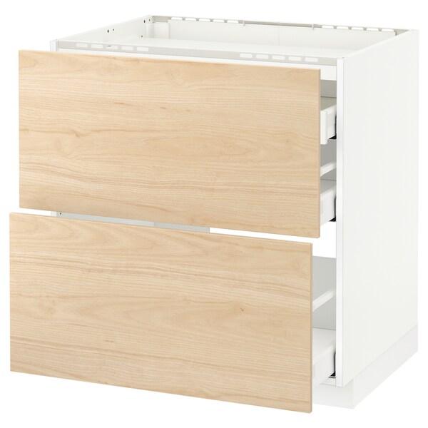 METOD / MAXIMERA Élément bas table cuisson/2fcs/3tir, blanc/Askersund effet frêne clair, 80x60 cm