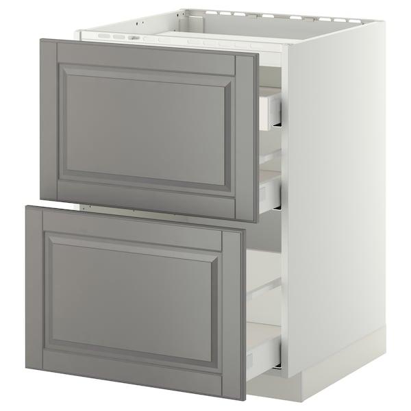 METOD / MAXIMERA Élément bas table cuisson/2fcs/3tir, blanc/Bodbyn gris, 60x60 cm