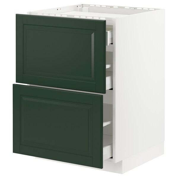 METOD / MAXIMERA Élément bas table cuisson/2fcs/3tir, blanc/Bodbyn vert foncé, 60x60 cm