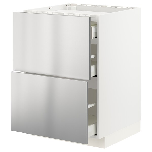 METOD / MAXIMERA Élément bas table cuisson/2fcs/3tir, blanc/Vårsta acier inoxydable, 60x60 cm