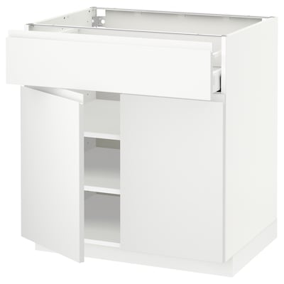 METOD / MAXIMERA Élément bas tiroir/2 portes, blanc/Voxtorp blanc mat, 80x60 cm
