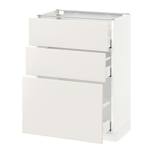 Metod maximera l ment bas 3 tiroirs veddinge blanc for Meuble 40x60