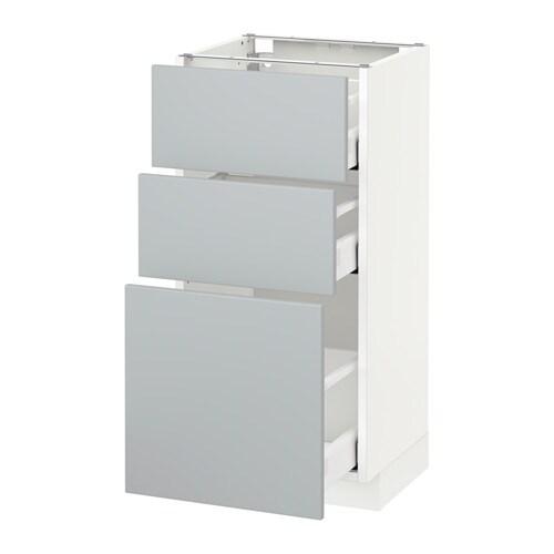Metod Maximera L Ment Bas 3 Tiroirs Blanc Veddinge Gris 40x37 Cm Ikea