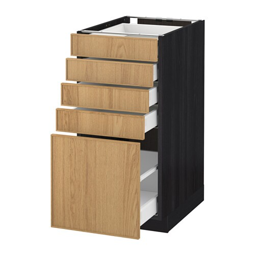 Metod maximera l ment bas 5 tiroirs effet bois noir for Meuble 40x60