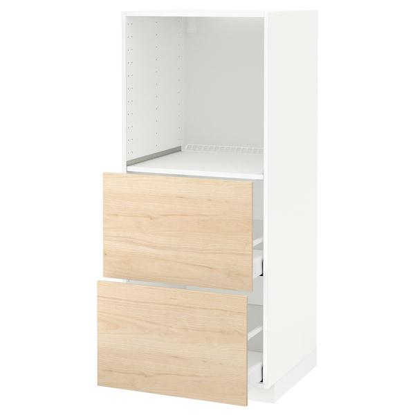 METOD / MAXIMERA Élément haut 2 tiroirs pr four, blanc/Askersund effet frêne clair, 60x60x140 cm