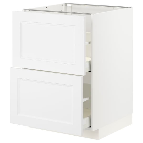 METOD / MAXIMERA Élt bas 2 faces/2 tiroirs hauts, blanc/Axstad blanc mat, 60x60 cm