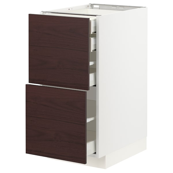 METOD / MAXIMERA Élt bas 2faces/2tir bas+1moy+1haut, blanc Askersund/brun foncé décor frêne, 40x60 cm