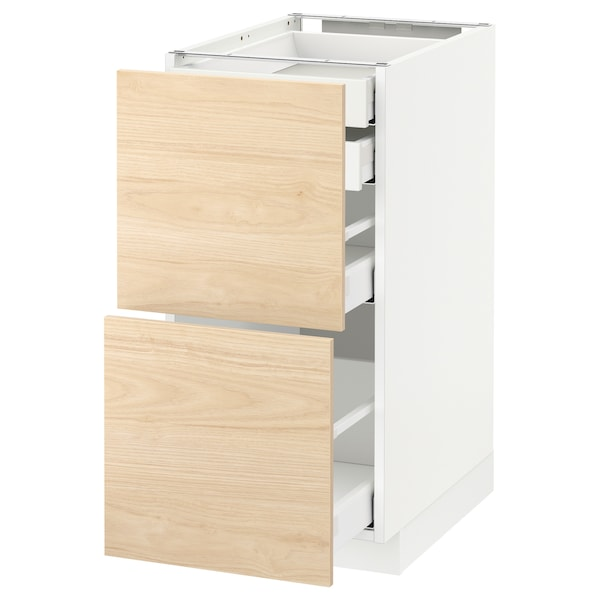 METOD / MAXIMERA Élt bas 2faces/2tir bas+1moy+1haut, blanc/Askersund effet frêne clair, 40x60 cm