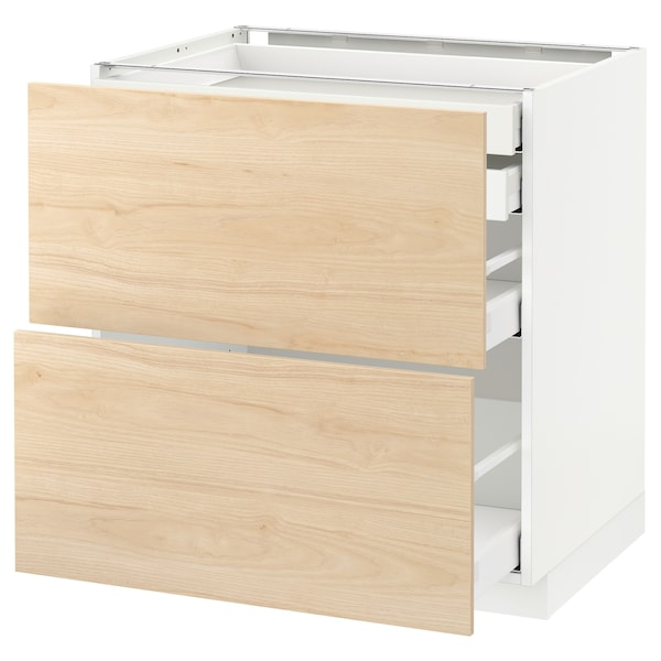METOD / MAXIMERA Élt bas 2faces/2tir bas+1moy+1haut, blanc/Askersund effet frêne clair, 80x60 cm