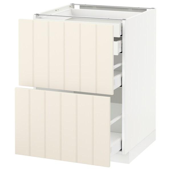 METOD / MAXIMERA Élt bas 2faces/2tir bas+1moy+1haut, blanc/Hittarp blanc cassé, 60x60 cm