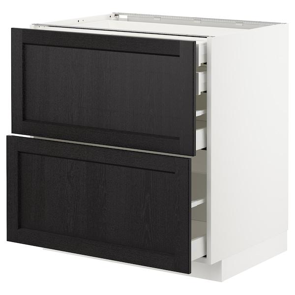 METOD / MAXIMERA Élt bas 2faces/2tir bas+1moy+1haut, blanc/Lerhyttan teinté noir, 80x60 cm
