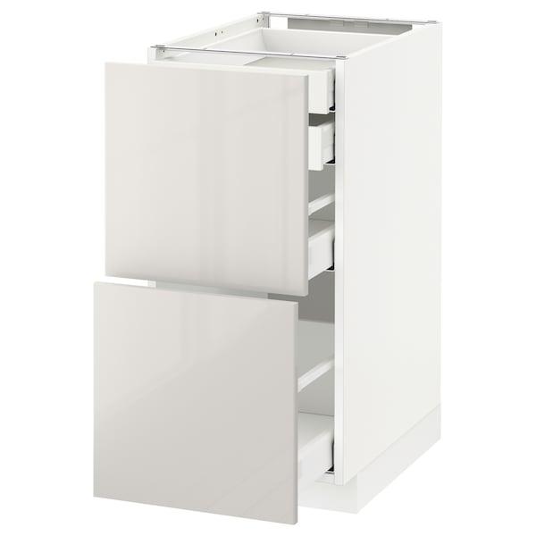 METOD / MAXIMERA Élt bas 2faces/2tir bas+1moy+1haut, blanc/Ringhult gris clair, 40x60 cm