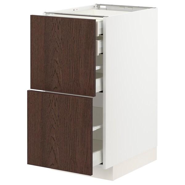 METOD / MAXIMERA Élt bas 2faces/2tir bas+1moy+1haut, blanc/Sinarp brun, 40x60 cm