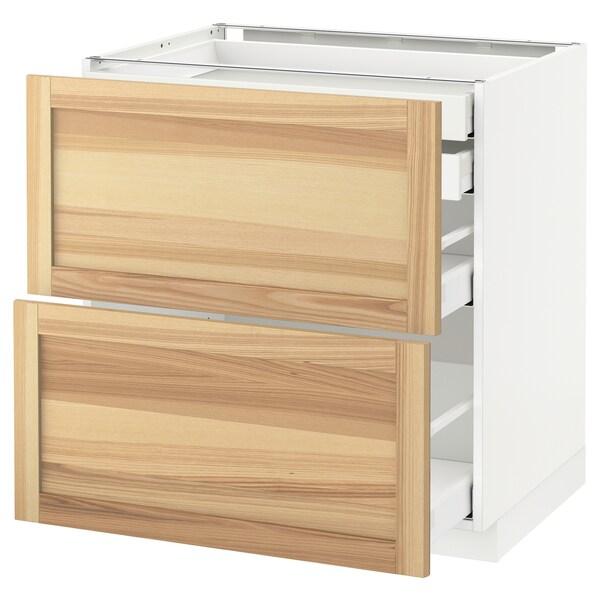 METOD / MAXIMERA Élt bas 2faces/2tir bas+1moy+1haut, blanc/Torhamn frêne, 80x60 cm