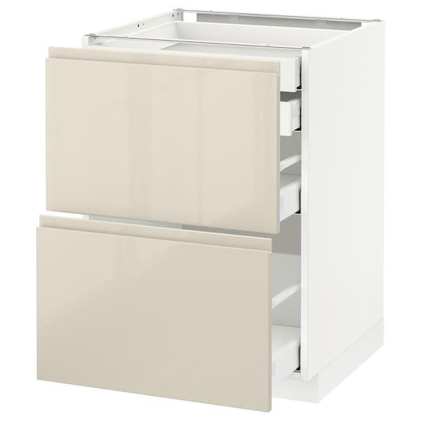 METOD / MAXIMERA Élt bas 2faces/2tir bas+1moy+1haut, blanc/Voxtorp beige clair brillant, 60x60 cm