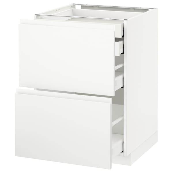 METOD / MAXIMERA Élt bas 2faces/2tir bas+1moy+1haut, blanc/Voxtorp blanc mat, 60x60 cm