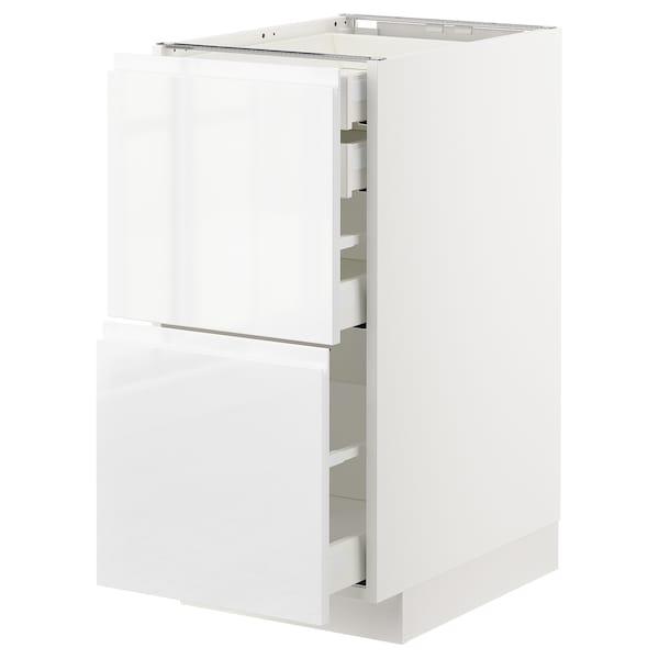METOD / MAXIMERA Élt bas 2faces/2tir bas+1moy+1haut, blanc/Voxtorp brillant/blanc, 40x60 cm