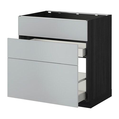 Metod Maximera Lt Bas Pr Vier 3faces 2tiroirs Effet Bois Noir Veddinge Gris 80x60 Cm Ikea