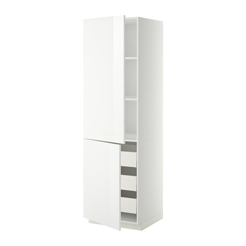 metod maximera lt haut tablettes 3tiroirs 2portes ringhult brillant blanc 60x60x200 cm ikea. Black Bedroom Furniture Sets. Home Design Ideas