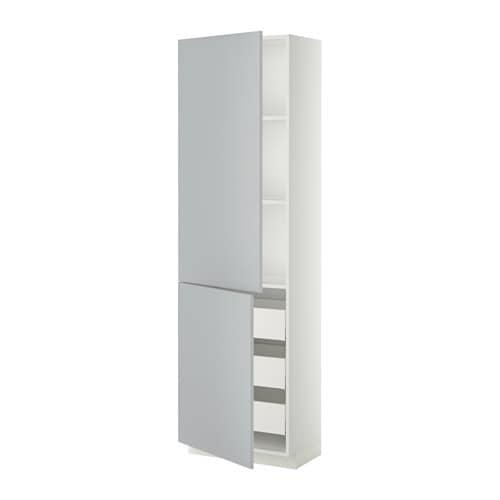 Metod Maximera Lt Haut Tablettes 3tiroirs 2portes Blanc Veddinge Gris 60x37x200 Cm Ikea