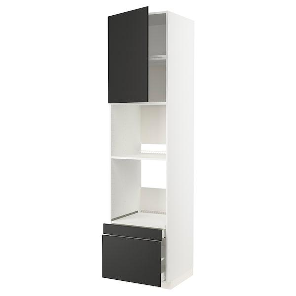 METOD / MAXIMERA Rangement four/combiné+tir/2 tir, blanc/Kungsbacka anthracite, 60x60x240 cm