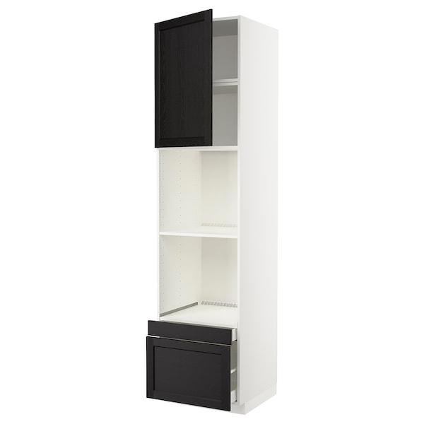 METOD / MAXIMERA Rangement four/combiné+tir/2 tir, blanc/Lerhyttan teinté noir, 60x60x240 cm