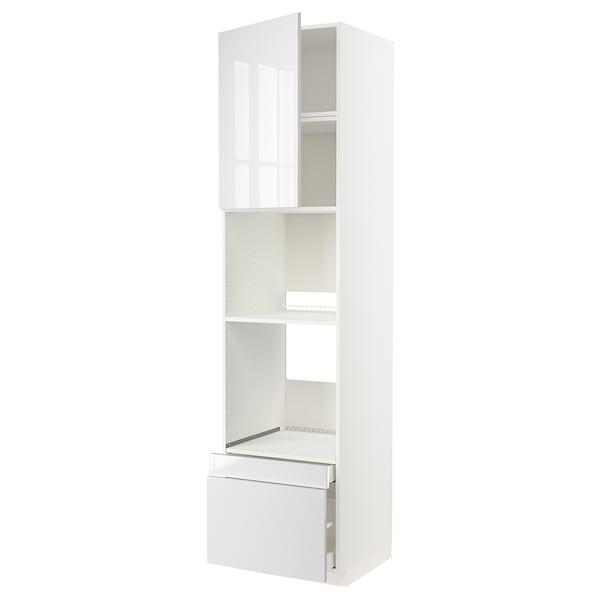 METOD / MAXIMERA Rangement four/combiné+tir/2 tir, blanc/Ringhult blanc, 60x60x240 cm