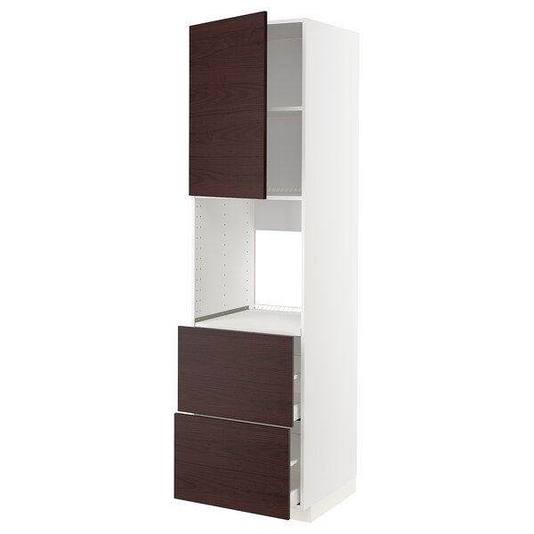 METOD / MAXIMERA Rangement four+tiroir/2fcs/2tir ht, blanc Askersund/brun foncé décor frêne, 60x60x220 cm