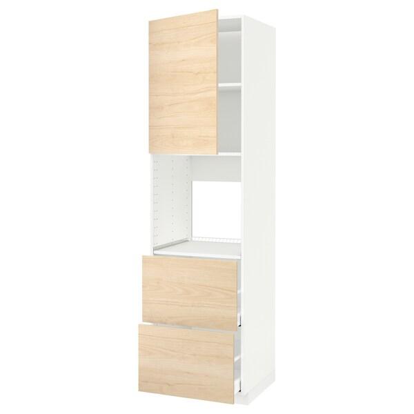 METOD / MAXIMERA Rangement four+tiroir/2fcs/2tir ht, blanc/Askersund effet frêne clair, 60x60x220 cm