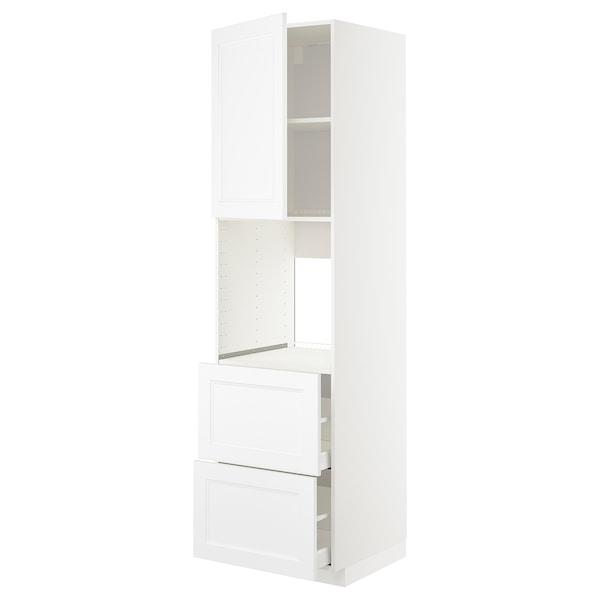 METOD / MAXIMERA Rangement four+tiroir/2fcs/2tir ht, blanc/Axstad blanc mat, 60x60x220 cm