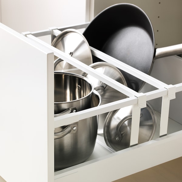 METOD / MAXIMERA Rangement four+tiroir/2fcs/2tir ht, blanc/Bodbyn blanc cassé, 60x60x220 cm