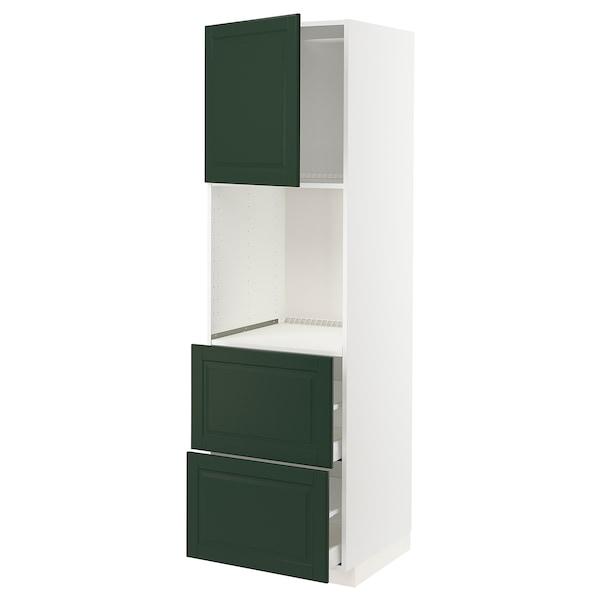 METOD / MAXIMERA Rangement four+tiroir/2fcs/2tir ht, blanc/Bodbyn vert foncé, 60x60x200 cm