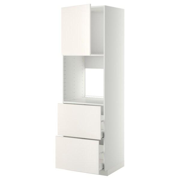 METOD / MAXIMERA Rangement four+tiroir/2fcs/2tir ht, blanc/Veddinge blanc, 60x60x200 cm