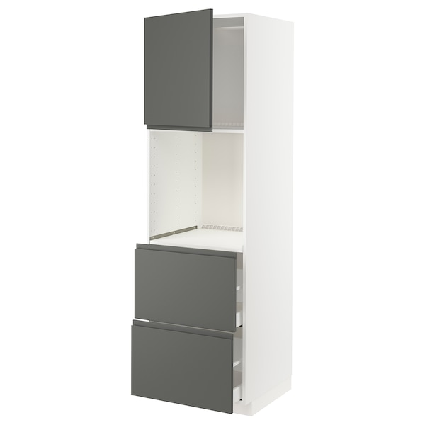 METOD / MAXIMERA Rangement four+tiroir/2fcs/2tir ht, blanc/Voxtorp gris foncé, 60x60x200 cm