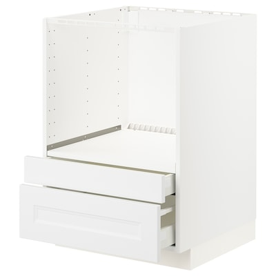 METOD Meuble pour micro combi/tiroirs, blanc/Axstad blanc mat, 60x60 cm