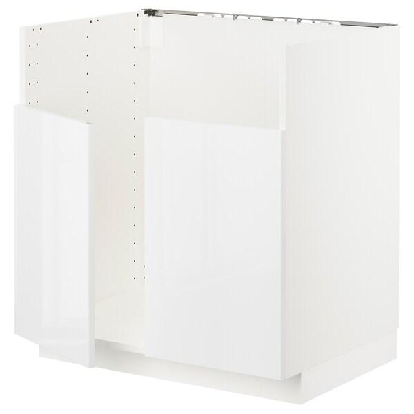 METOD Rangement bas évier 2 bacs BREDSJÖN, blanc/Ringhult blanc, 80x60 cm