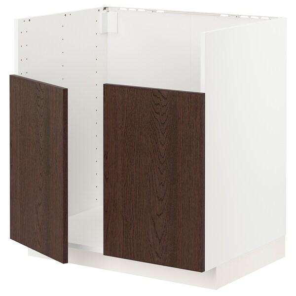 METOD Rangement bas évier 2 bacs BREDSJÖN, blanc/Sinarp brun, 80x60 cm